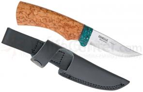 Helle Varg Fixed 3-1/8 inch Blade, Birch Wood Handle, Corian Bolster Guard, Genuine Leather Sheath