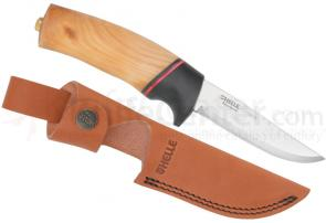 Helle Godbit Fixed 3-3/4 inch Blade, Birch Wood Handle, Genuine Leather Sheath
