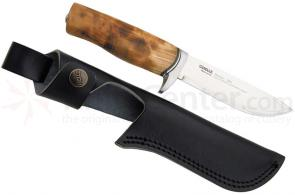 Helle Safari Hunting Knife 4-3/4 inch Blade, Curly Birch Handle, Leather Sheath