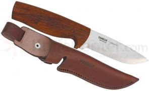 Helle Fjellbekk Fixed 3-7/8 inch Blade, Merbau Wood Handle, Genuine Leather Sheath