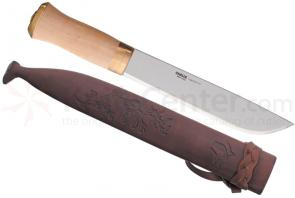 Helle Lappland Hunting Knife 8-3/8 inch Blade, Birch Handle, Leather Sheath