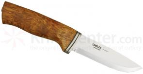 Helle Alden Fixed 4-1/8 inch Blade, Curly Birch Wood Handle, Genuine Leather Sheath