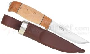 Helle ars Jubileum Fixed 4-1/4 inch Blade, Birch and Merbau Wood Handle, Genuine Leather Sheath