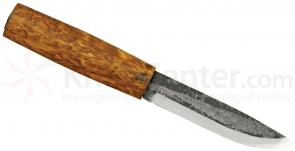 Helle Viking Fixed 4-1/4 inch Blade, Round Birch Wood Handle, Genuine Leather Sheath
