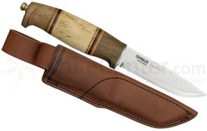 Helle Harding Hunting Knife 4 inch Blade, Walnut and Curly Birch Handle, Leather Sheath