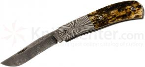 Don Hethcoat Custom Stag Slipjoint Folder 2.75 inch Damascus Blade, Stag Handles with Damascus Bolsters