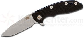 Rick Hinderer Knives XM-18 3 inch Flipper, S35VN Stonewashed Spear Point Blade, Black G10 Handle with Blue Anodized Titanium Frame