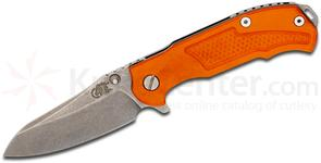 Rick Hinderer Knives MP-1 3.5 inch Flipper, S35VN Stonewashed Drop Point Blade, Orange G10 and Titanium Handles
