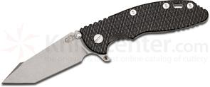 Rick Hinderer Knives XM-18 3.5 inch Fatty Flipper, S35VN Working Finish Harpoon Tanto Blade, Black/Green G10 Handle