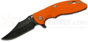 Rick Hinderer Knives XM-18 3.5 inch Flipper, Battle Black S35VN Bowie Blade, Orange G10 Handle