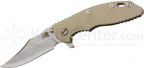 Rick Hinderer Knives XM-18 3.5 inch Flipper, S35VN Stonewashed Bowie Blade, Sand G10 Handle