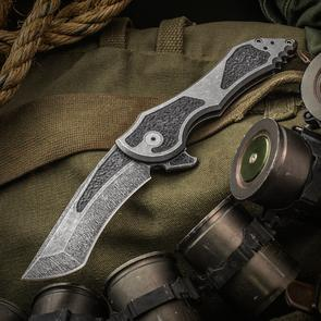 Jake Hoback Custom Paraclete Zero Gravity Flipper 3.75 inch CTS-XHP Fallout Blade and Titanium Handles with Dimpled Carbon Fiber Inlays