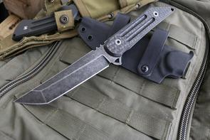 Jake Hoback Kwaiback Fixed 5 inch Black Fallout M390 Blade, Carbon Fiber Handles, Kydex Sheath