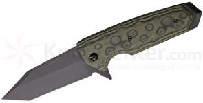 Hogue EX02 3.75 inch Flipper, Tactical Tanto Blade with G-Mascus Green G-10 Handles