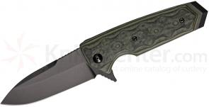 Hogue EX02 3.375 inch Flipper, Tactical Spear Point Blade with G-Mascus Green G-10 Handles