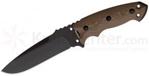 Hogue EX-F01 Combat Knife Fixed 5-1/2 inch Carbon Steel Blade, G10 Tan G-Mascus Handles, MOLLE Sheath
