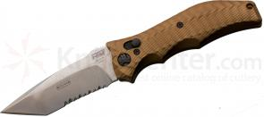 HTM Knives Darrel Ralph DDR Gun Hammer AUTO 3-1/2 inch S35VN Stonewashed Tanto Combo Blade, Flat Dark Earth Handles
