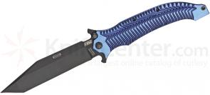 HTM Knives Darrel Ralph DDR AXD 5.5 Assisted Folder 5-1/2 inch DLC Coated S35VN Blade, Blue Titanium Handles