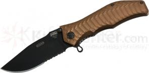 HTM Knives Darrel Ralph DDR Gun Hammer Bowie Assisted 3-1/2 inch Black S30V Combo Blade, Flat Dark Earth Handles