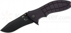 HTM Knives Kirby Lambert Snap Assisted 3-1/2 inch Black 154CM Plain Blade, Aluminum Handles