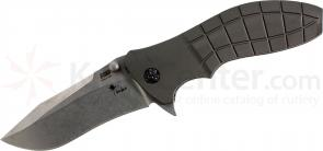 HTM Knives Kirby Lambert Snap Assisted 3-1/2 inch Stonewashed 154CM Plain Blade,  inchShark inch Aluminum Handles