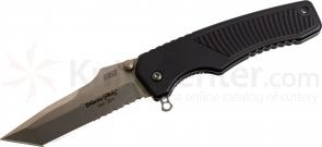 HTM Knives Blackie Collins Legacy Assisted 3-1/2 inch Satin S35VN Tanto Combo Blade, Aluminum Handles