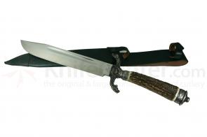 Hubertus Hunting Cutlass 10-1/4 inch Stain Blade, Stag Handles with Silver Plating