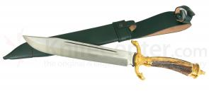 Hubertus Hunting Cutlass 10-1/4 inch Satin Blade, Stag Handles with Gold Plating