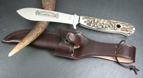 Hubertus Forstmesser Nicker Fixed 4.5 inch Blade, Stag Handles, Leather Sheath