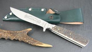 Hubertus Waidmannshelfer Fixed 4.25 inch Satin Combo Blade, Stag Handles, Leather Sheath