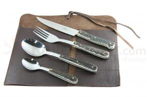 Hubertus Four Piece Dining Set with Stag Handles, Leather Carry Case