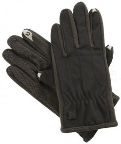 ISOTONER Men's smarTouch Diamond Grid Gloves - Fleece Lined, Black, X-Large