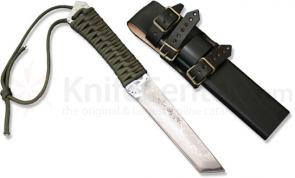 Kanetsune Kiba 4.72 inch Damascus Fixed Tanto Blade with Wooden Sheath
