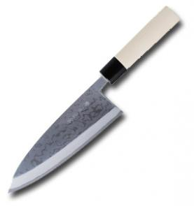 Kanetsune White Magnolia Handle Deba Kitchen Knife w/8.3 inch Damascus