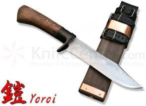 Kanetsune Yoroi 6.3 inch Damascus Blade, Wood Handle