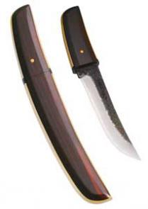 Kanetsune Yuh Fixed w/7.09 inch Damascus Blade & Magnolia Handle