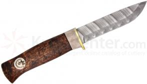 Karesuando Kniven Beaver Damask 3.75 inch Fixed Blade, Curly Birch and Reindeer Antler Handle, Leather Sheath
