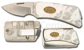 Katz Belt Buckle Knife Mother of Pearl Handle and Cast Metal Buckle