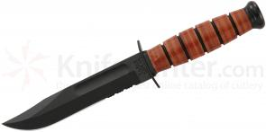 KA-BAR 1252 USMC Short Fighting Knife 5-1/4 Combo Blade, Leather Handles, Leather Sheath