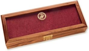 KA-BAR 1438 Walnut Presentation Case with USMC Glass, 14-7/8 inch x 5-7/8 inch