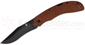 KA-BAR 5598 Adventure Baconmaker Folding Knife 3-3/8 inch Black Plain Blade, Brown GFN Handles
