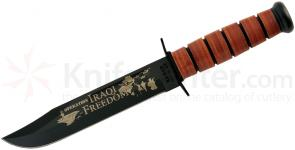 KA-BAR 9128 USMC Commemorative Iraqi Freedom Fighting Knife 7 inch Plain Blade, Leather Handles, Leather Sheath