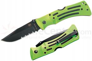 KA-BAR 3059 ZK (Zombie Killer) Knives MULE Folding Knife 3-7/8 inch Combo Blade, Green Zytel Handles