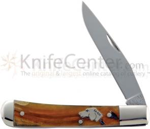 KA-BAR 8111 Dog's Head Trapper 3-1/16 inch Plain Blade, Ram's Horn Handles
