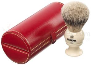 Kent Brushes BK2 Handmade Traditional Medium Pure Gray Badger Shave Brush, Cream Handle, Red Presentation Case
