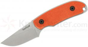 Kershaw 1080OR Skinning Knife 2-3/8 inch Stonewash Blade, Orange G10 Handles, Black Leather Sheath