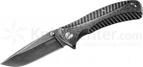 Kershaw 1301BW Starter Assisted Folding 3.4 inch Plain Blackwash Blade, Stainless Steel Handles