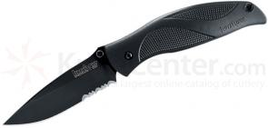 Kershaw 1550ST Blackout Folding Knife Assisted 3-1/4 inch Black Combo Blade, Polyimide Handles
