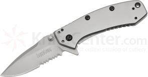 Kershaw 1555ST Cryo Assisted Flipper 2-3/4 inch Bead Blasted Combo Blade, Rick Hinderer Framelock Design
