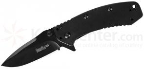Kershaw 1556BLK Cryo II Assisted 3-1/4 inch Black Plain Blade, Rick Hinderer Framelock Design
